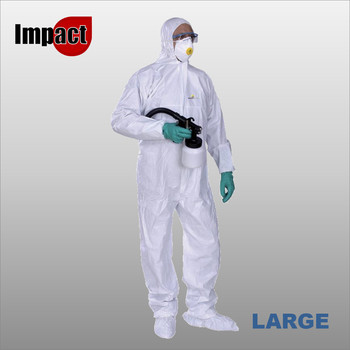DT115 NON-WOVEN HOODED OVERALL LARGE - SINGLE-USE