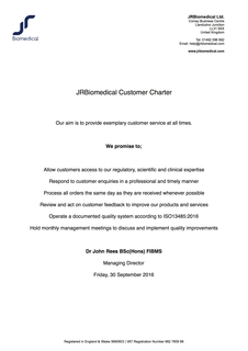 Our New Customer Service Charter