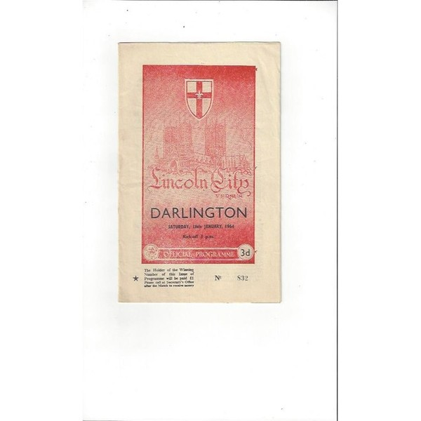 1963/64 Lincoln City v Darlington Football Programme