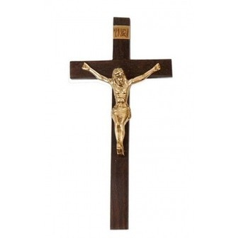 Wooden Cross with Brass Jesus