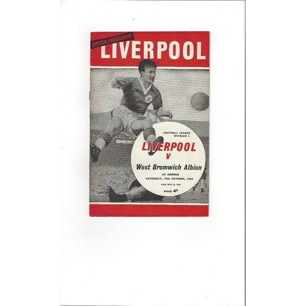 1963/64 Liverpool v West Bromwich Albion Football Programme