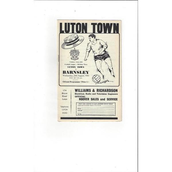 1968/69 Luton Town v Barnsley Football Programme