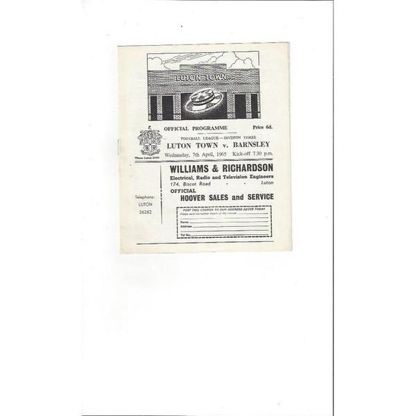 1964/65 Luton Town v Barnsley Football Programme