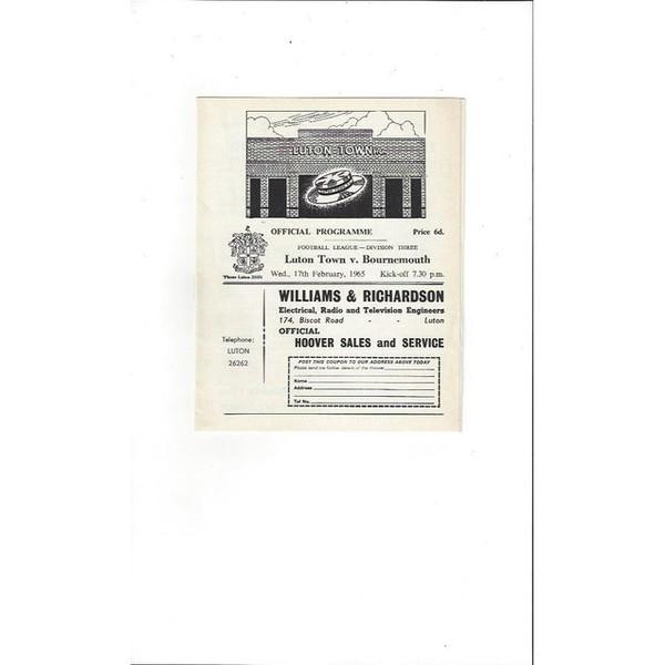 1964/65 Luton Town v Bournemouth Football Programme