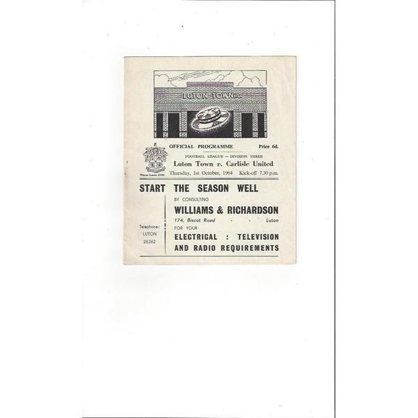 1964/65 Luton Town v Carlisle United Football Programme