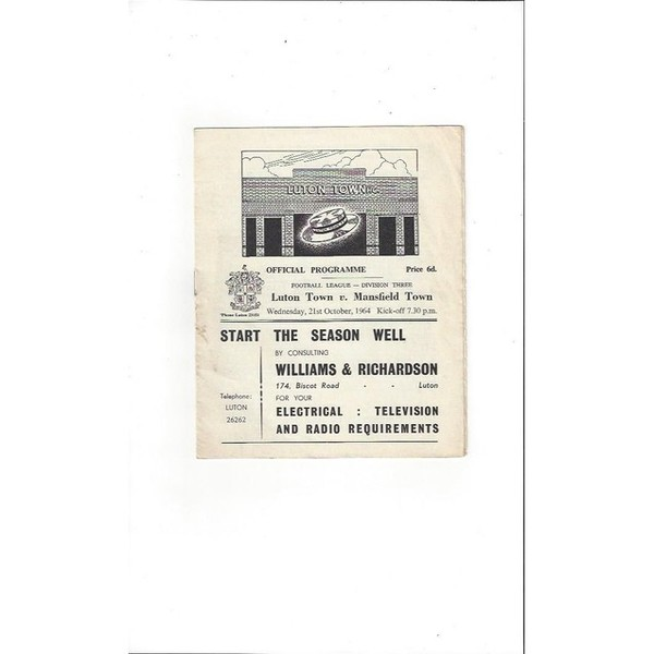 1964/65 Luton Town v Mansfield Town Football Programme