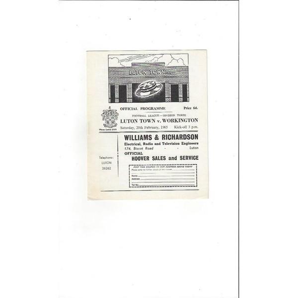 1964/65 Luton Town v Workington Football Programme