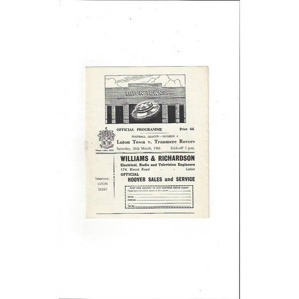 1965/66 Luton Town v Tranmere Rovers Football Programme