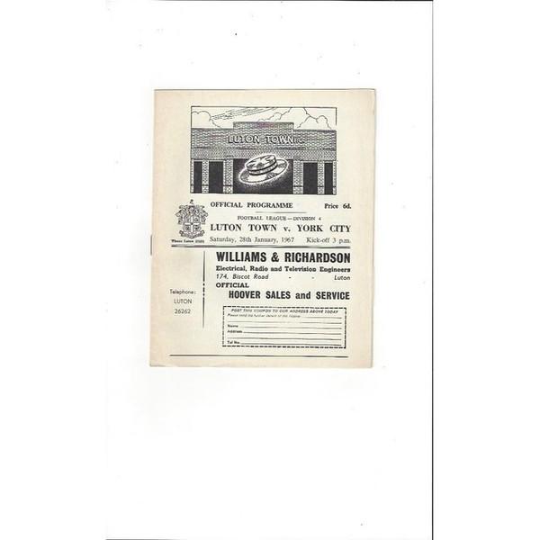 1966/67 Luton Town v York City Football Programme