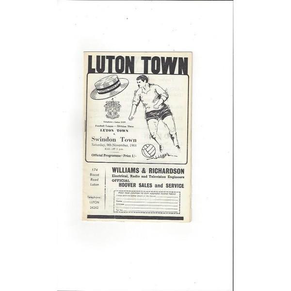 Luton Town v Swindon Town 1968/69