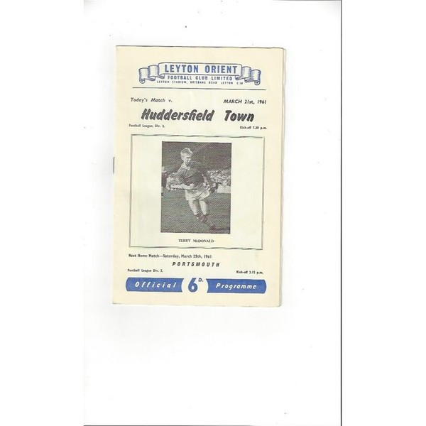 1960/61 Leyton Orient v Huddersfield Town Football Programme March