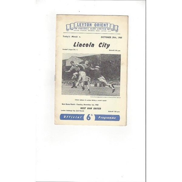 1960/61 Leyton Orient v Lincoln City Football Programme