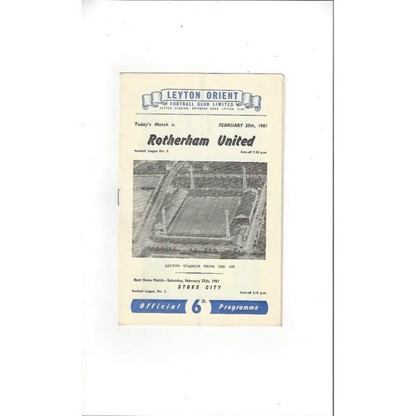 1960/61 Leyton Orient v Rotherham United Football Programme