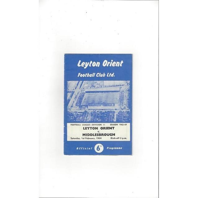 Leyton Orient v Middlesbrough 1963/64