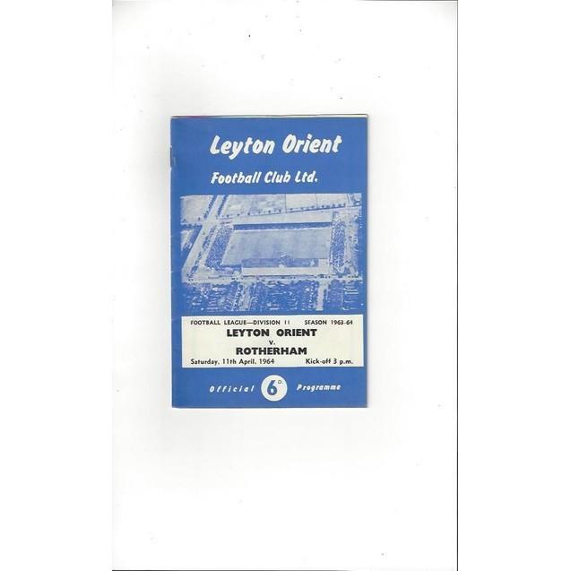 1963/64 Leyton Orient v Rotherham United Football Programme