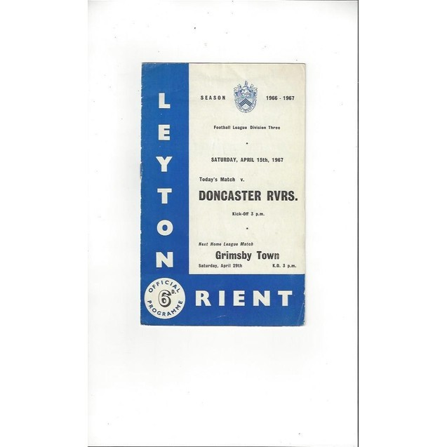 1966/67 Leyton Orient v Doncaster Rovers Football Programme