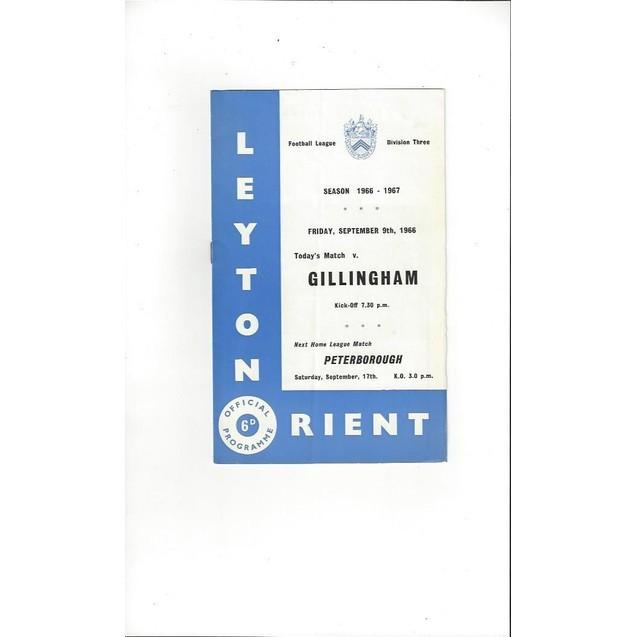1966/67 Leyton Orient v Gillingham Football Programme