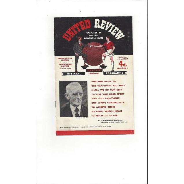 1960/61 Manchester United v Blackburn Rovers Football Programme