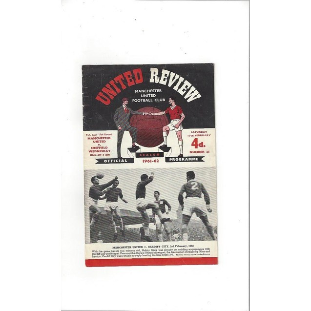 1961/62 Manchester United v Sheffield Wednesday FA Cup Football Programme