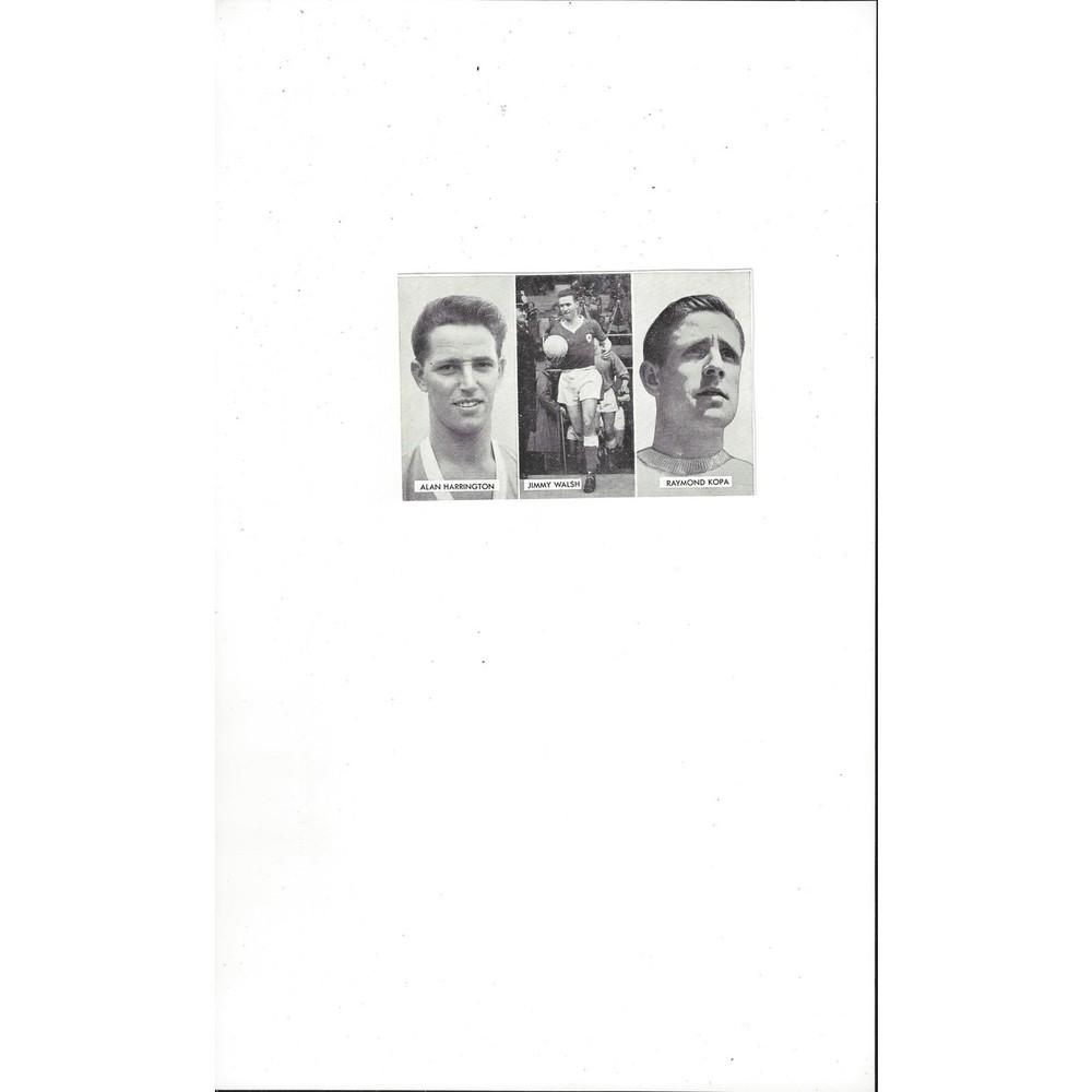 Harrington, Walsh & Kopa Cup Tie Stars of all Nations Football Card