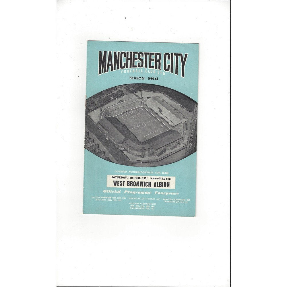 1960/61 Manchester City v West Bromwich Albion Football Programme