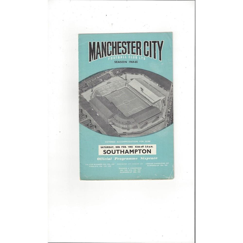 1964/65 Manchester City v Southampton Football Programme