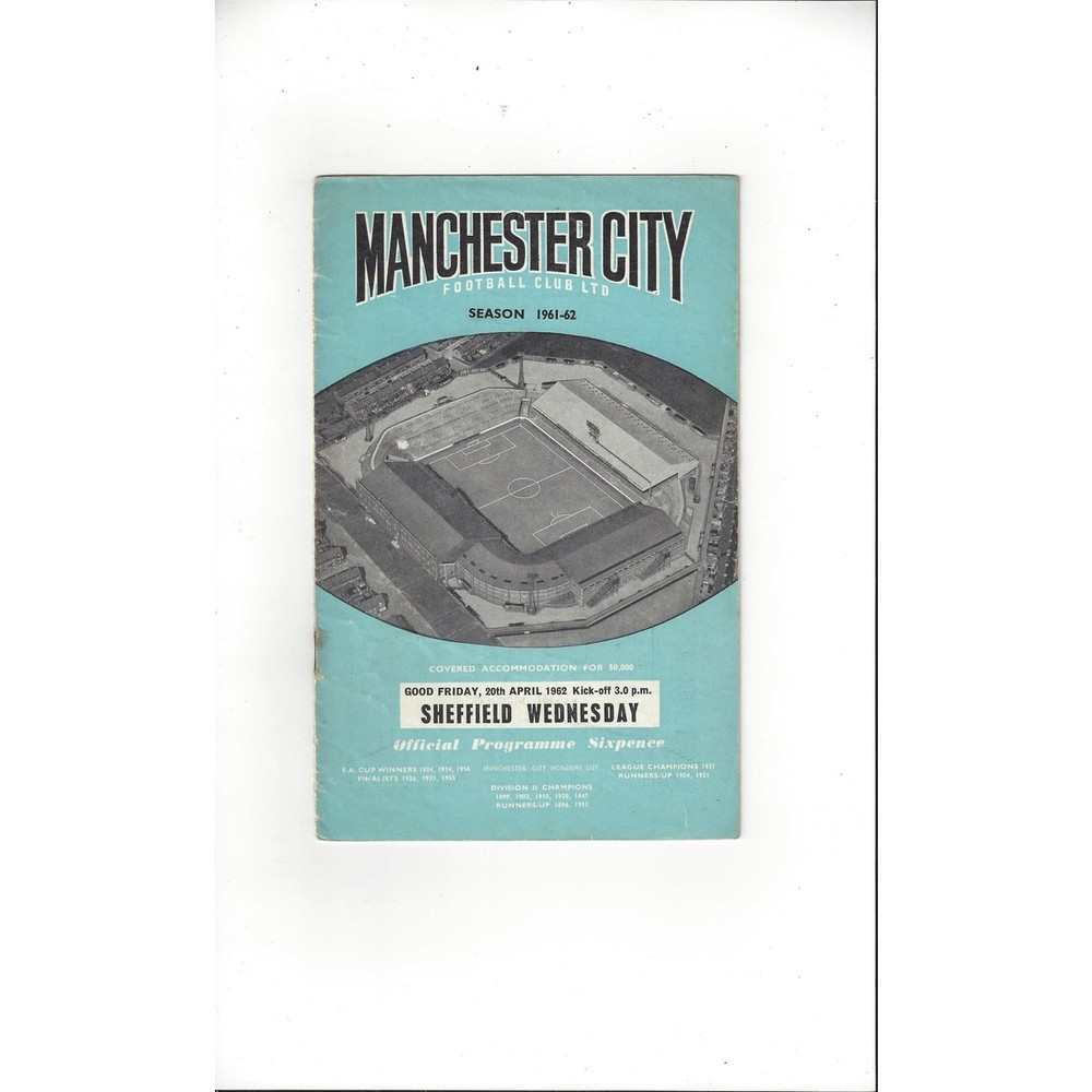 1961/62 Manchester City v Sheffield Wednesday Football Programme