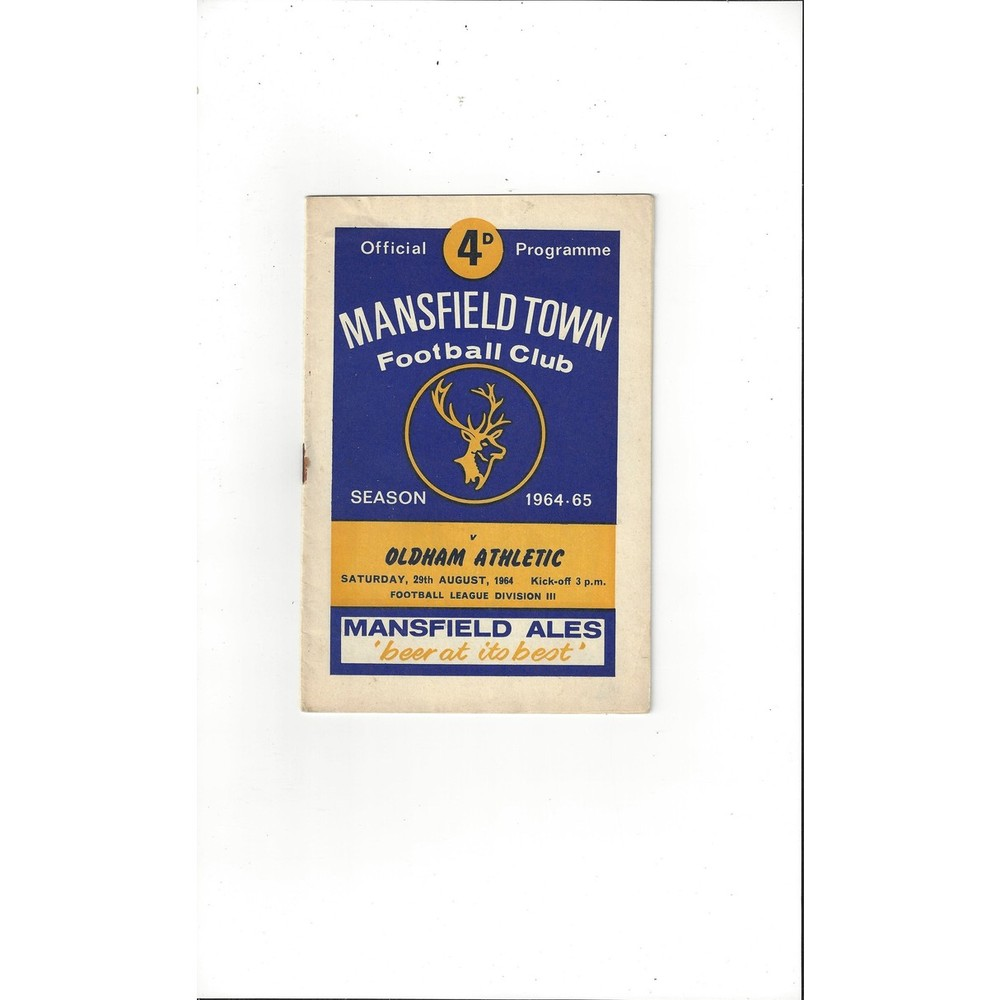 1964/65 Mansfield Town v Oldham Athletic Football Programme