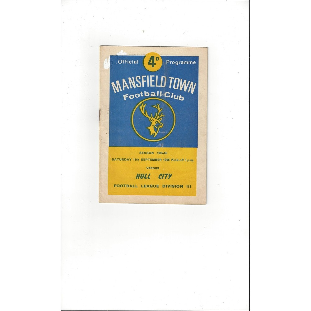 1965/66 Mansfield Town v Hull City Football Programme