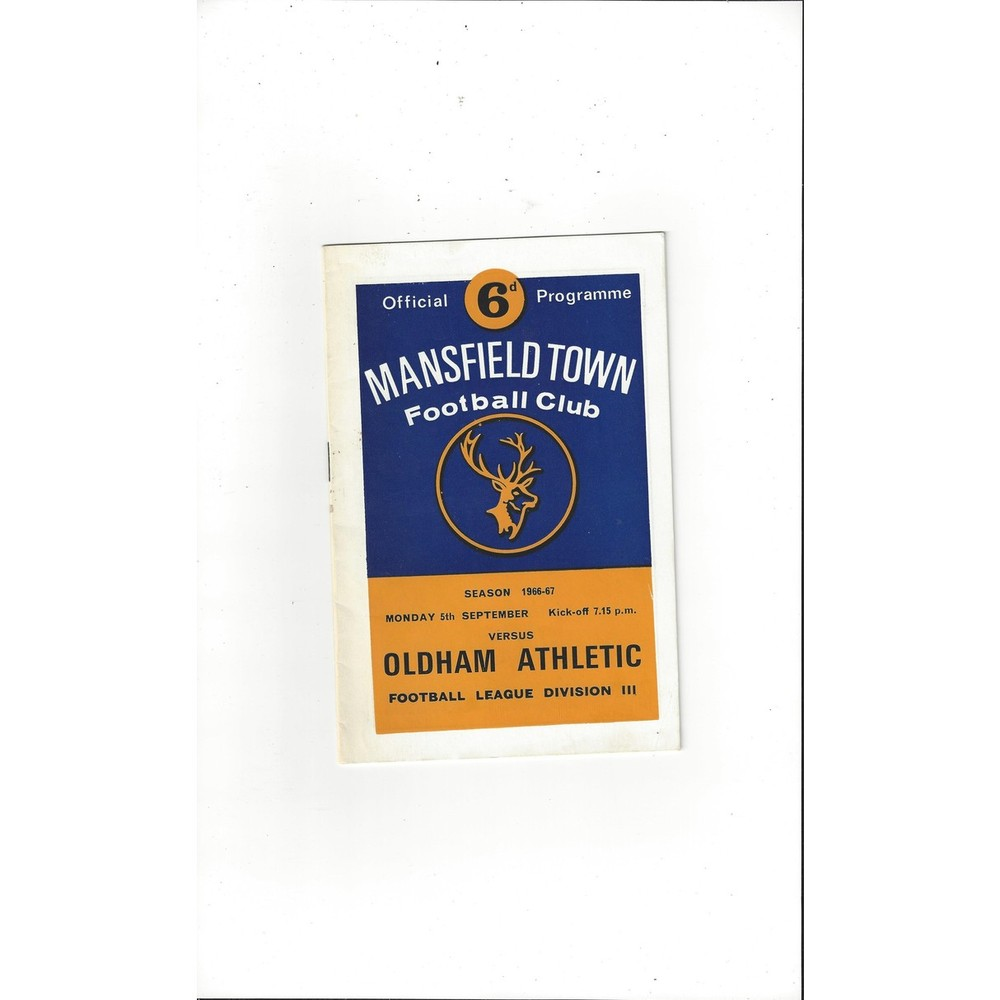 1966/67 Mansfield Town v Oldham Athletic Football Programme