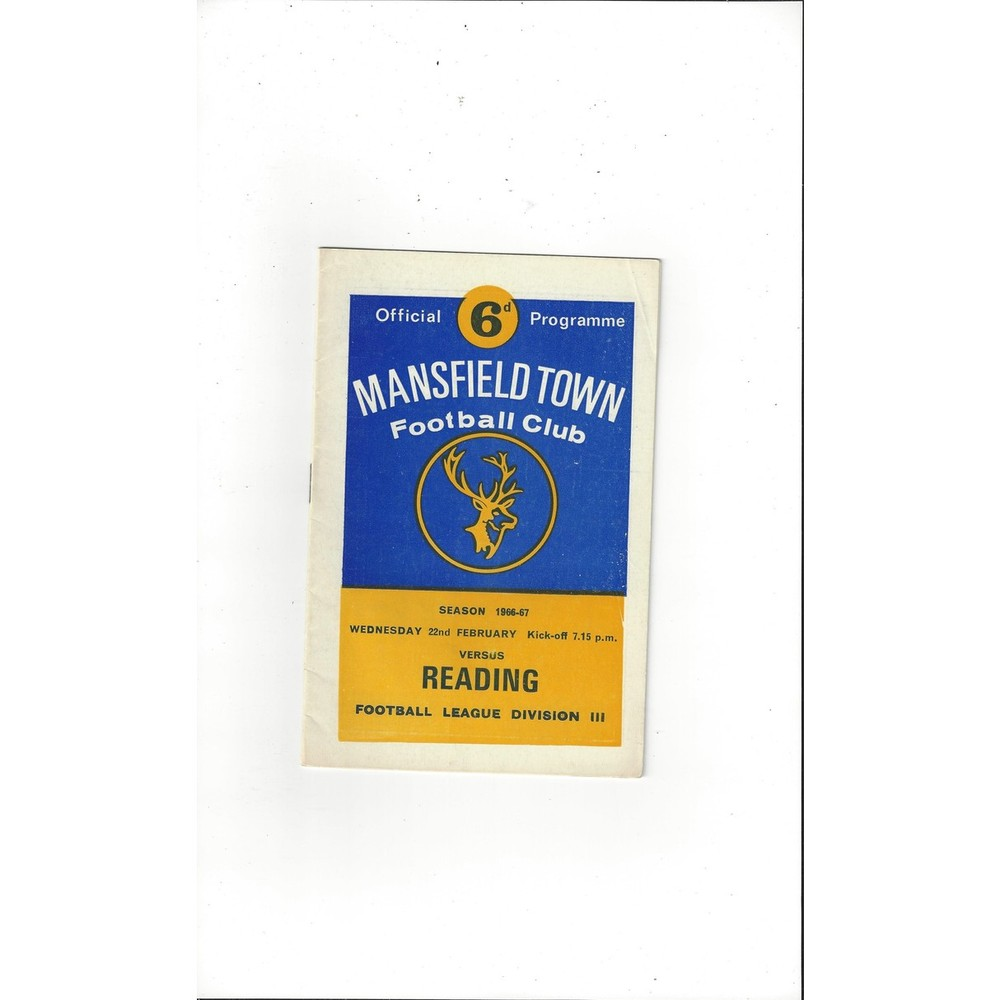 1966/67 Mansfield Town v Reading Football Programme