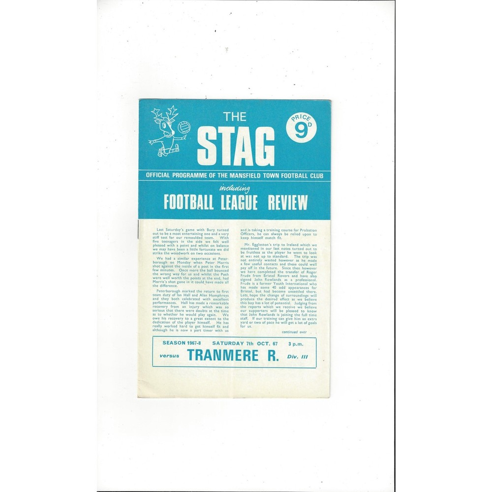 Mansfield Town v Tranmere Rovers 1967/68