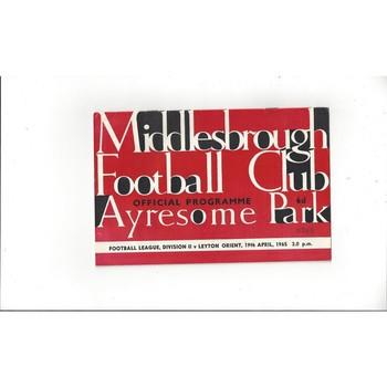 1964/65 Middlesbrough v Leyton Orient Football Programme
