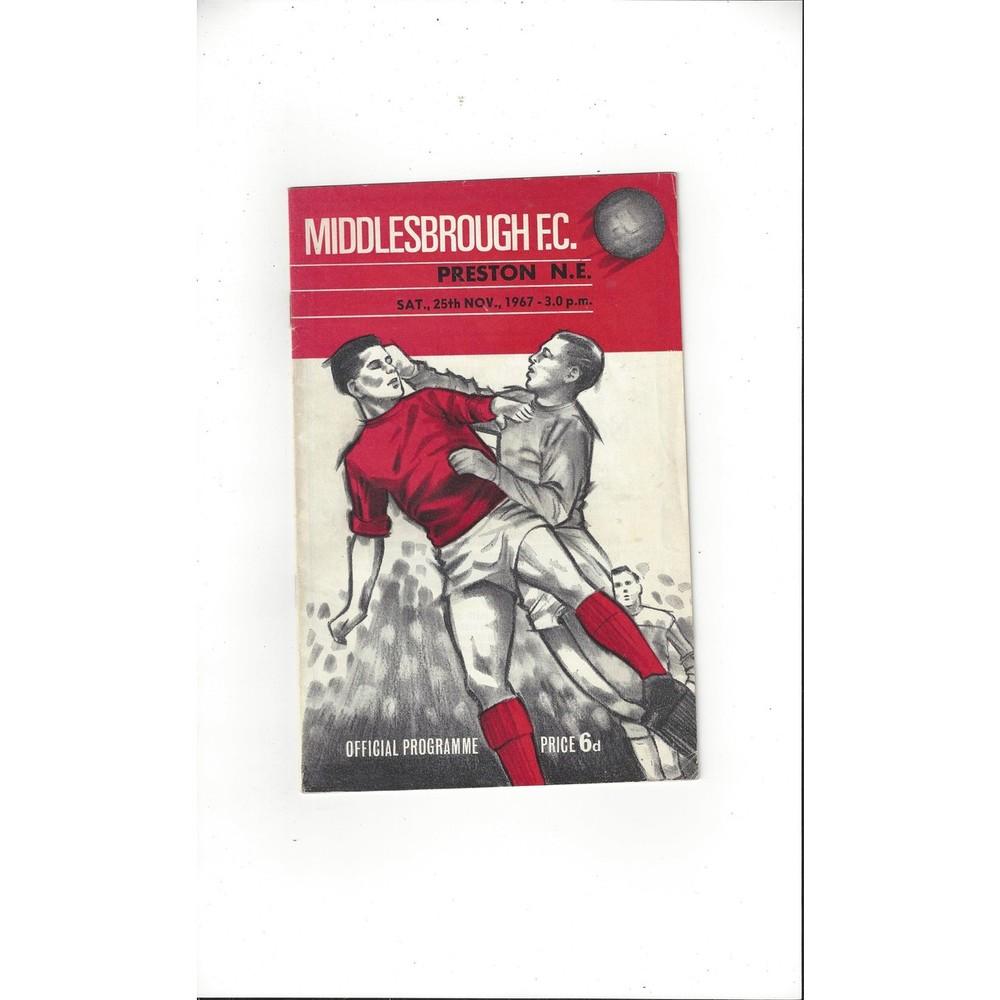 1967/68 Middlesbrough v Preston Football Programme