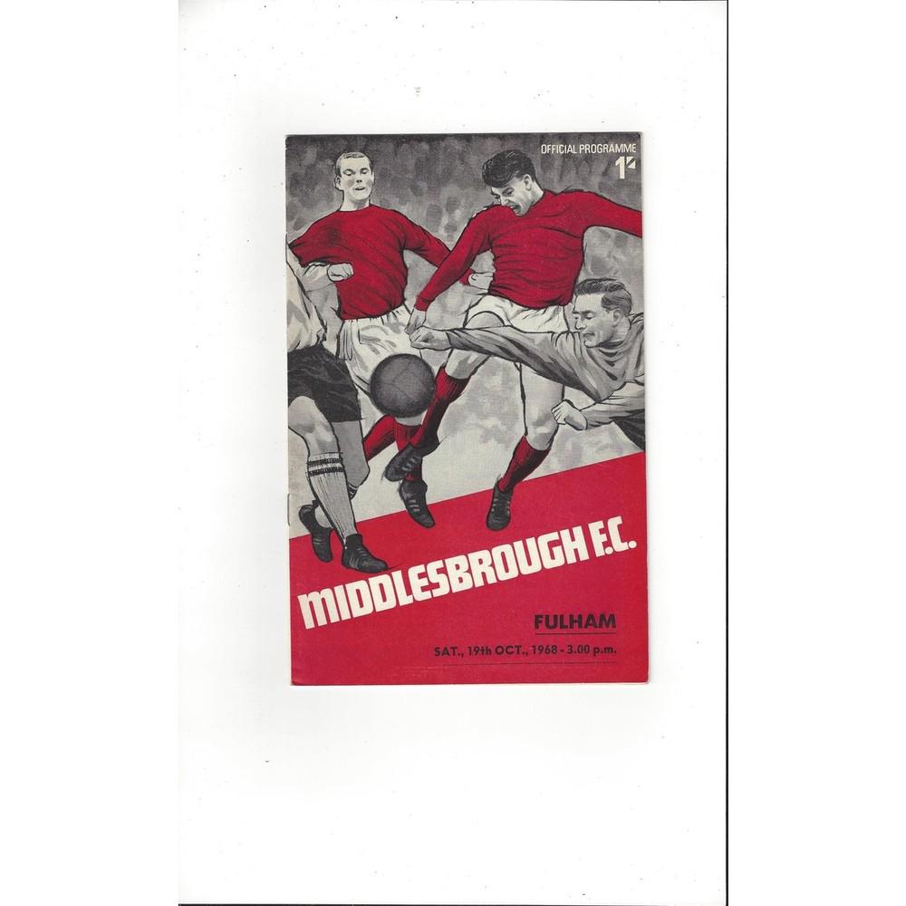 1968/69 Middlesbrough v Fulham Football Programme