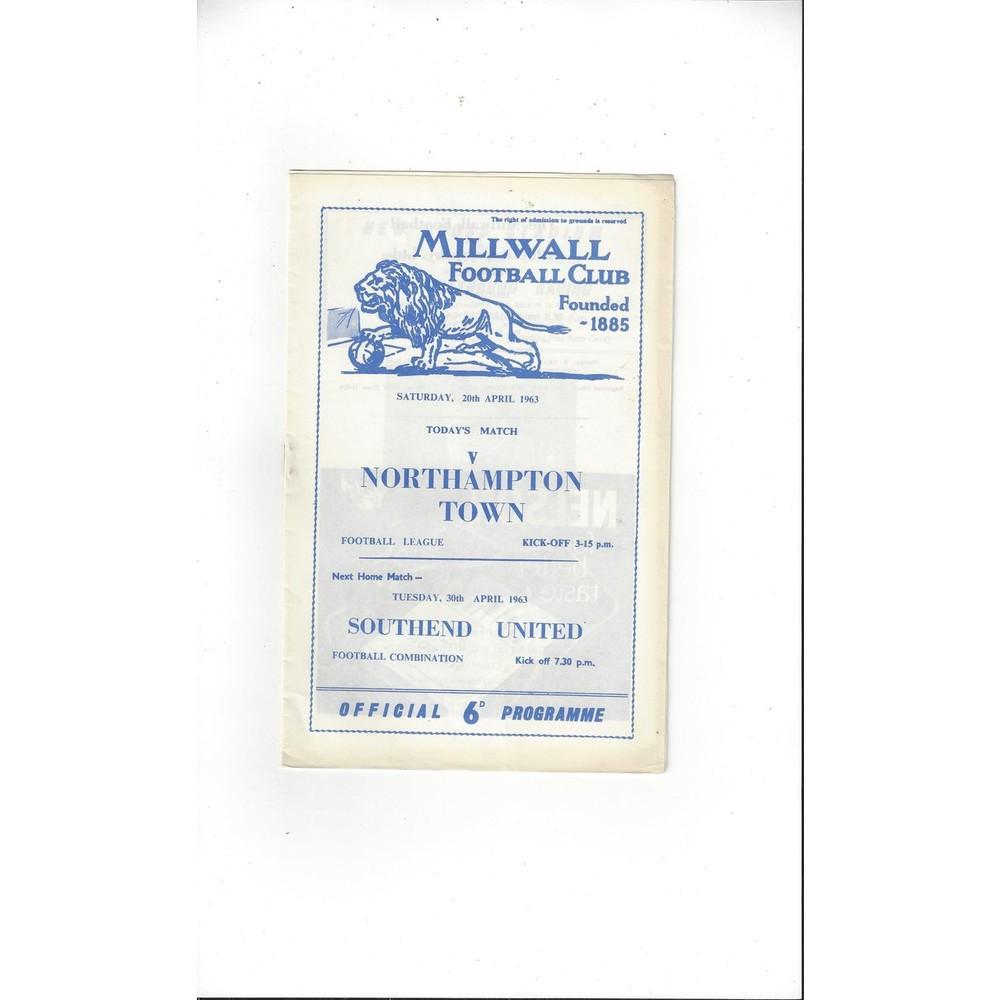1962/63 Millwall v Northampton Town Football Programme