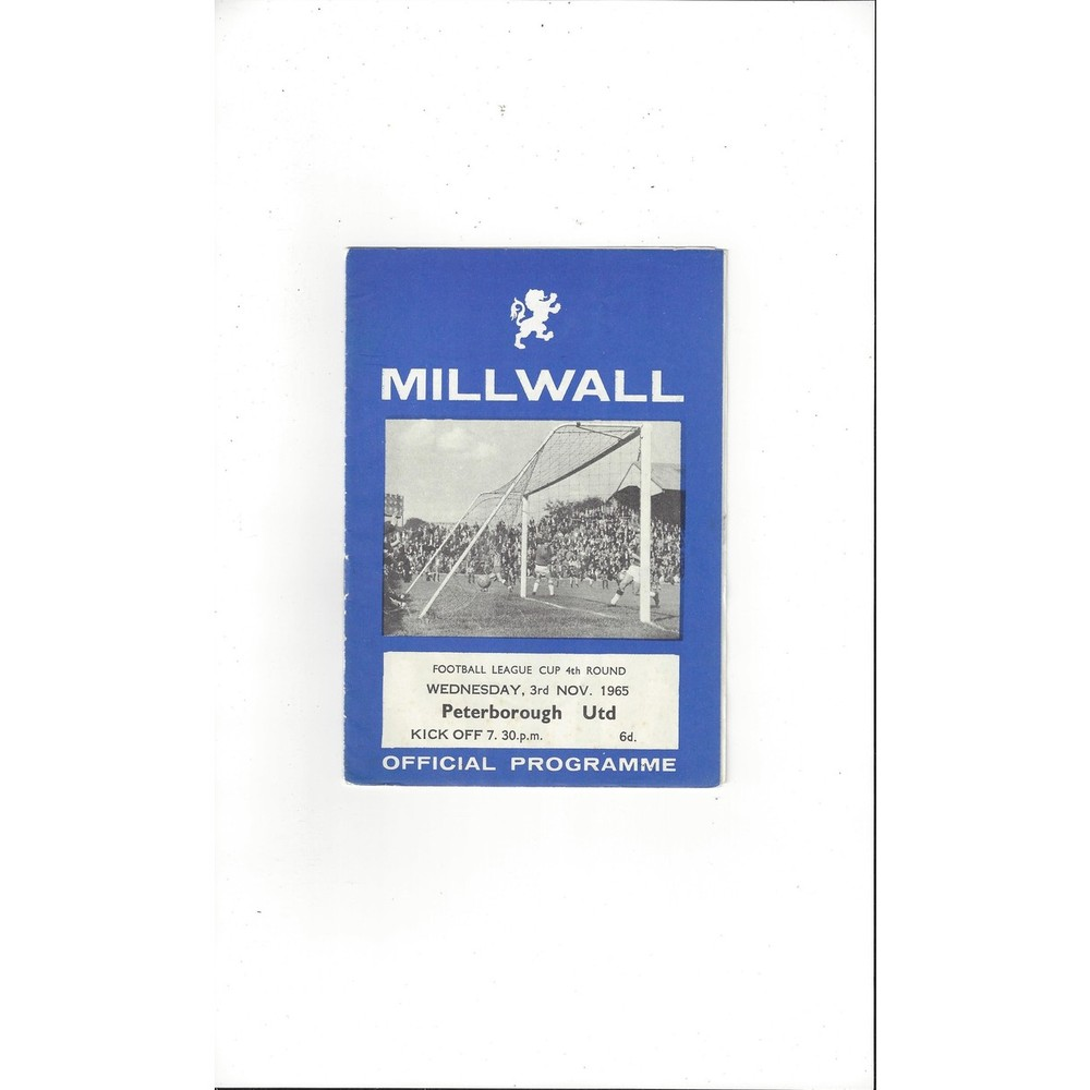 1965/66 Millwall v Peterborough United League Cup Football Programme