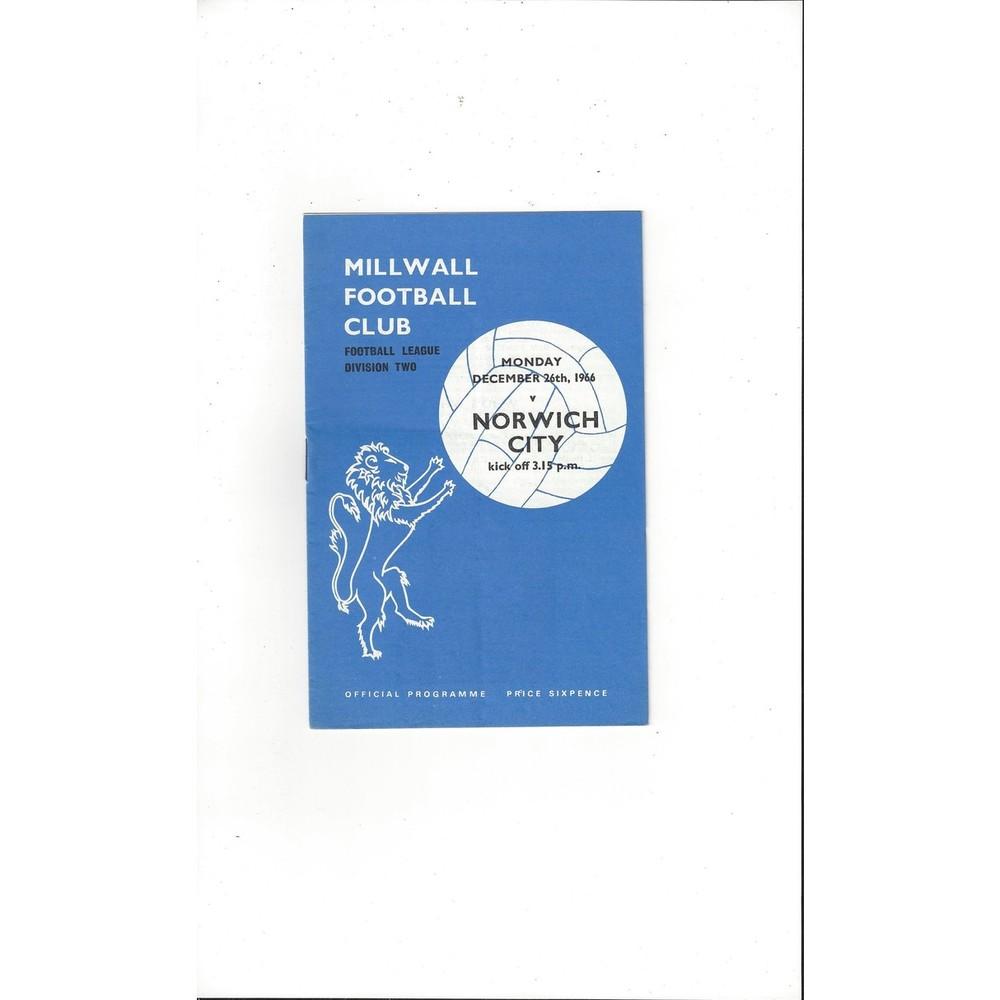 1966/67 Millwall v Norwich City Football Programme
