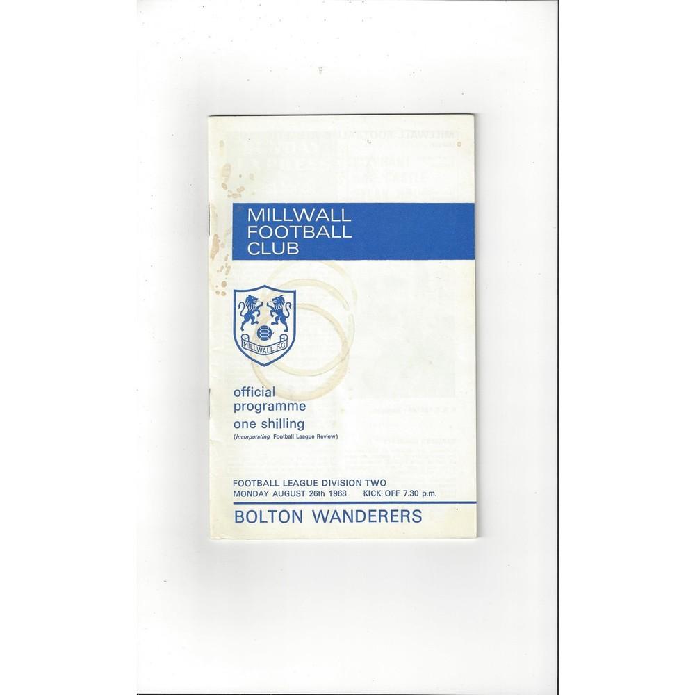1968/69 Millwall v Bolton Football Programme + League Review