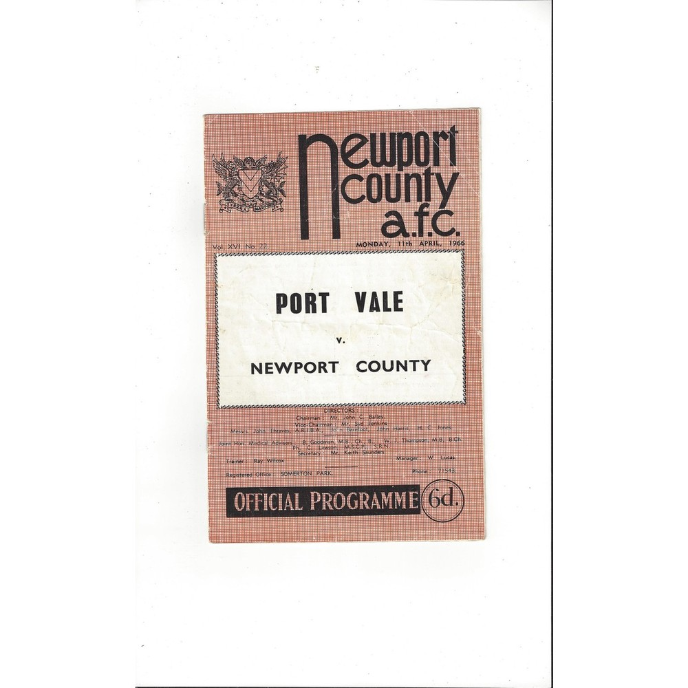1965/66 Newport County v Port Vale Football Programme