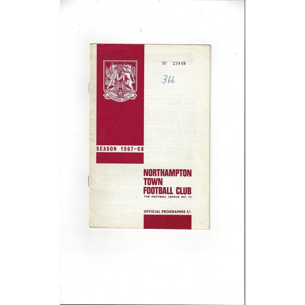 1967/68 Northampton Town v Swindon Town Football Programme
