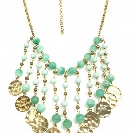 Beaded Gold Coins Necklace