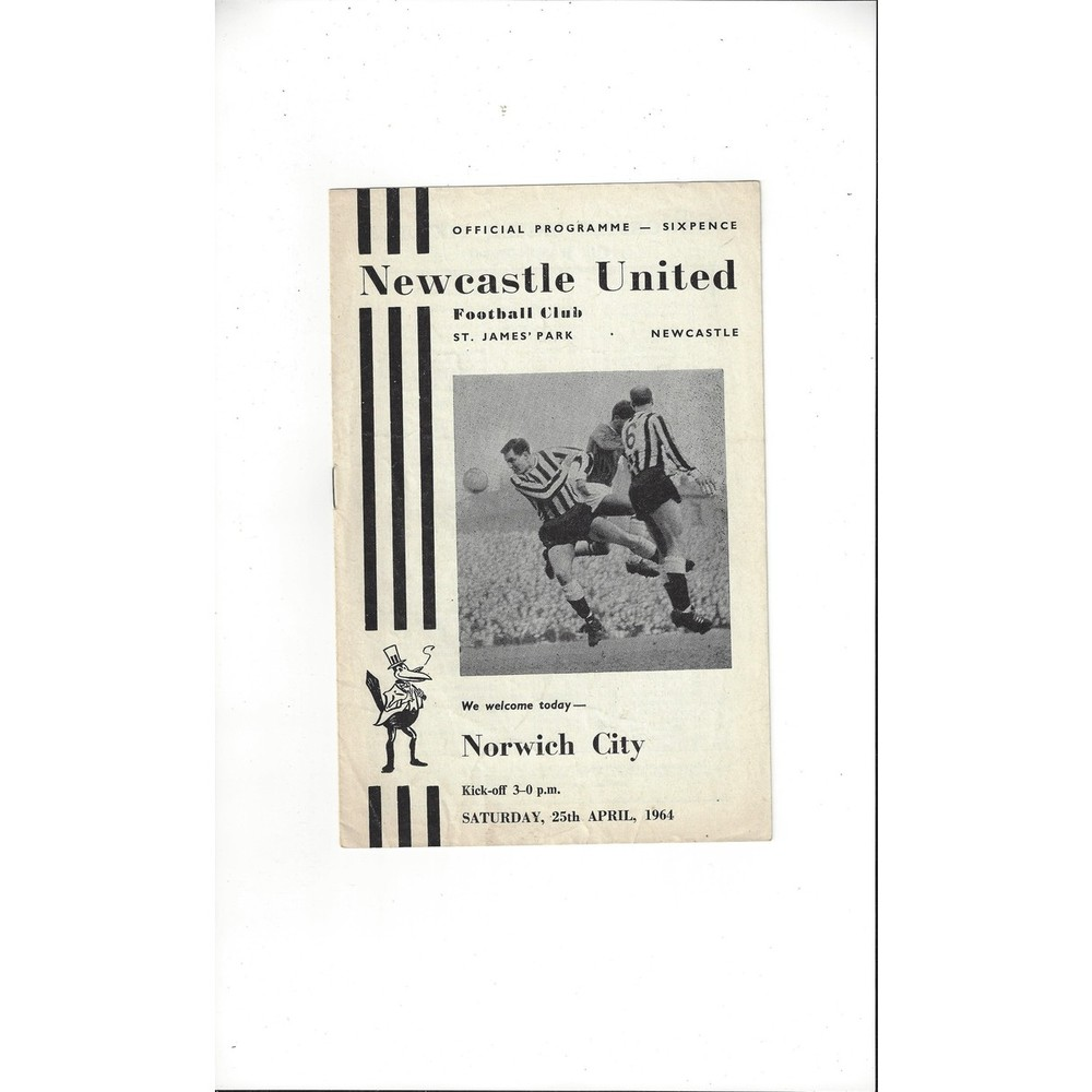 1963/64 Newcastle United v Norwich City Football Programme