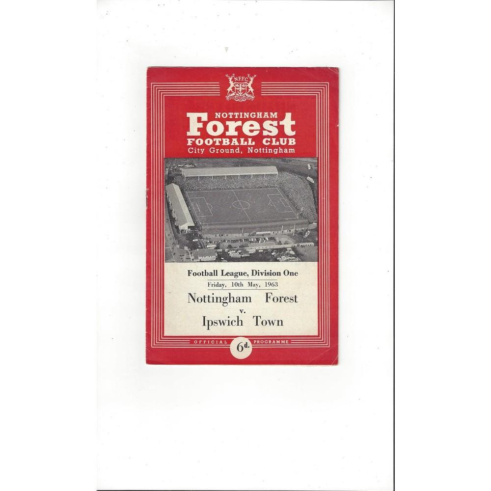 1962/63 Nottingham Forest v Ipswich Town Football Programme