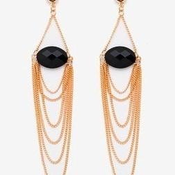 Long tassle gem earrings