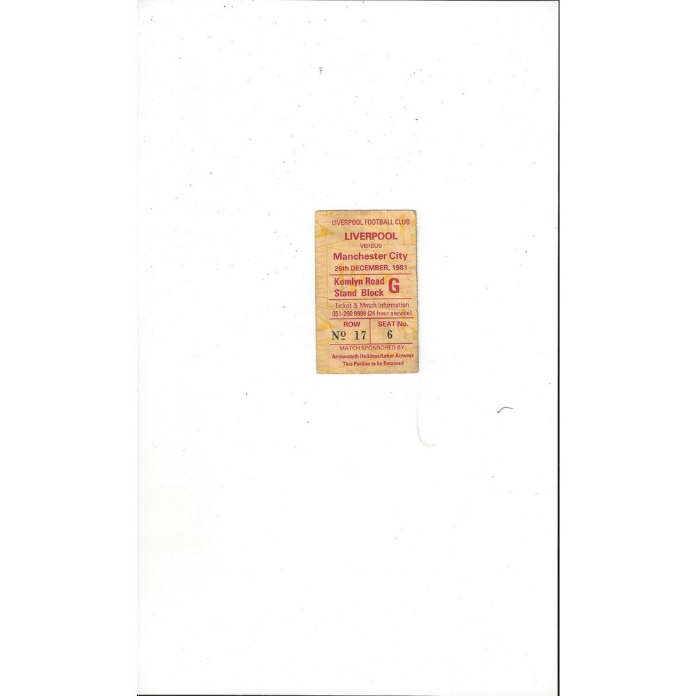 Liverpool v Manchester City Match Ticket Stub 1981/82