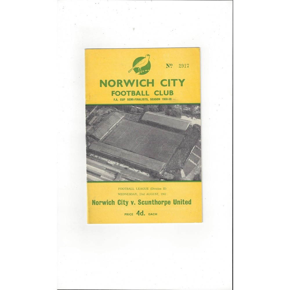 1961/62 Norwich City v Scunthorpe United Football Programme