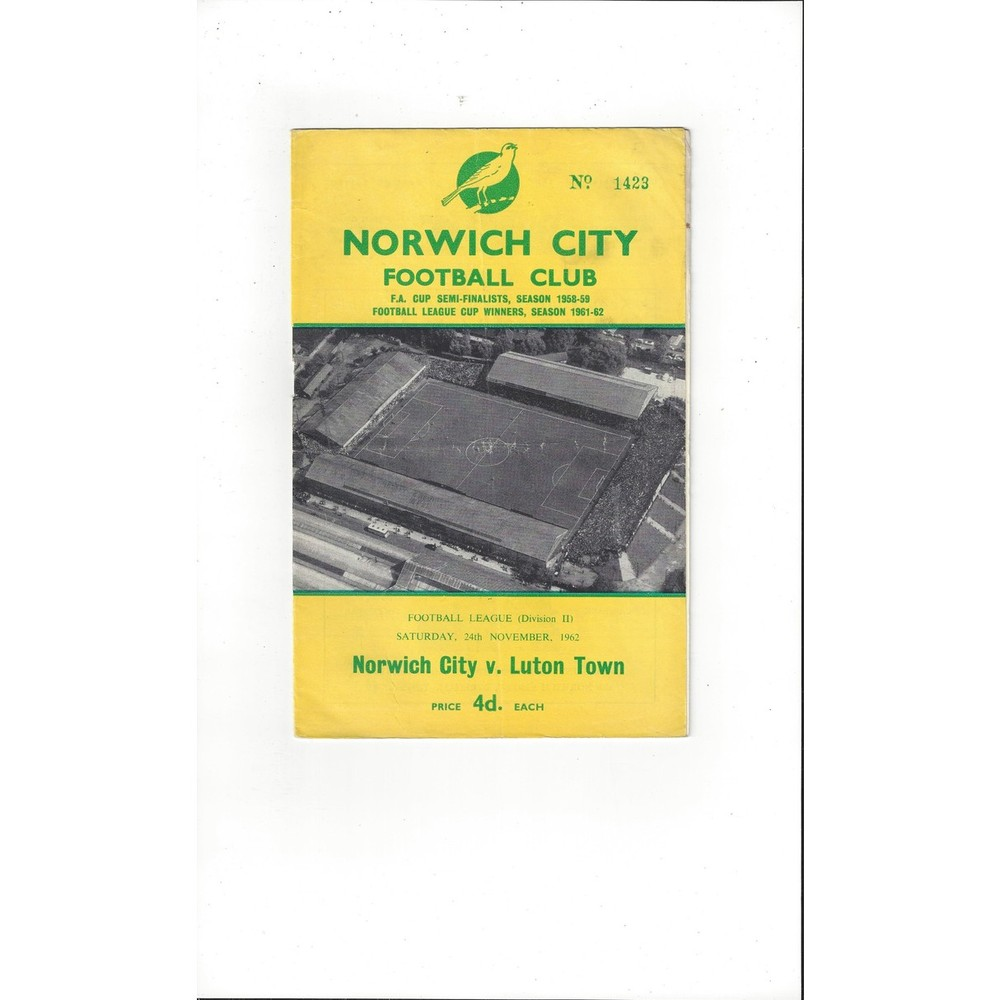 1962/63 Norwich City v Luton Town Football Programme