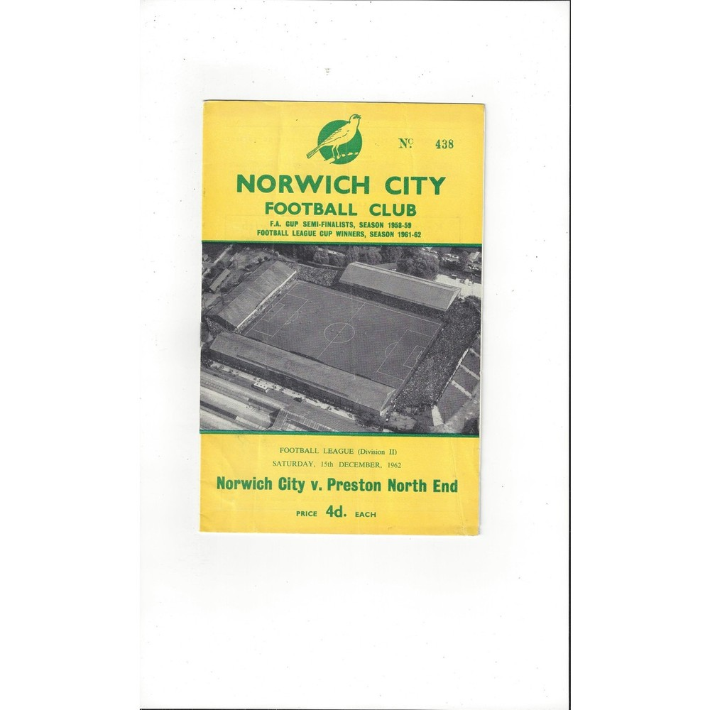 1962/63 Norwich City v Preston Football Programme