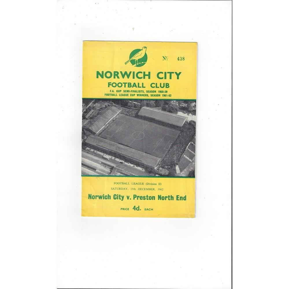 1962/63 Norwich City v Preston Football Programme